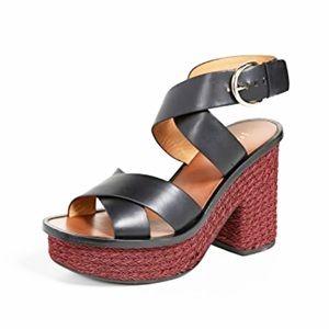 Joie Tanglee Platform Black Leather Sandal Heels